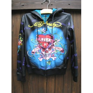 再入荷ED HARDY / WOMENS TRACK TOP LEATHER JACKET