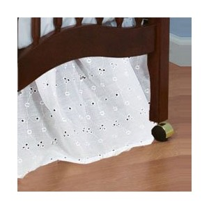 Standard Crib Eyelet Dust Ruffles - color white by BabyDoll Bedding