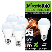 Miracle LED 604714低プロファイルGeneral Purpose LED電球with Mediumベース(パックof 4) ,クールホワイト