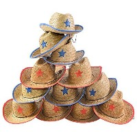 (Funny Party Hats) Child Straw Cowboy Hat - 12 Straw Cowboy Hats W/ Sheriff Badge Funny Party Hats