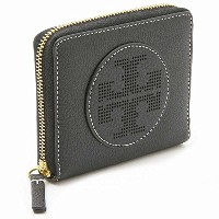 (トリーバーチ) TORY BURCH トリーバーチ 財布 TORY BURCH 36729 001 PERFORATED LOGO MEDIUM ZIP WALLET 二つ折り財布 BLACK ...