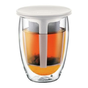 Bodum Tea For One Double Wall Glass Tea Strainer, 0.35-Liter, 12-Ounce, Off-White [並行輸入品]