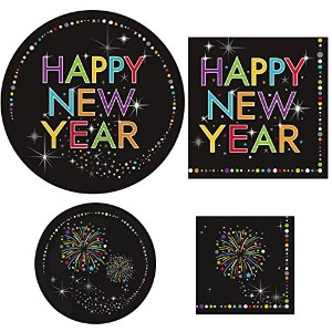 "New Year 's Eve Party Suppliesバンドル"" Sparkle Party "" - Includes 8 Dinner Plates , 8 dessert plates..."