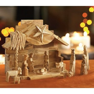 Olive Wood Silent Night Nativity Small ( 7.5 x 6 Inches ) ブラウン 5Q-BONR-1KCD