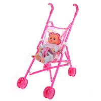 LuxBene(TM)BS#S New Dolls Buggy Stroller Pram Foldable Girls Pushchair Toy Doll Pram Baby Doll