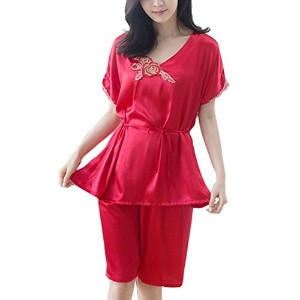 Zhhlinyuan Fashion Women's Lingerie Stain Chemise Slip Sleepwear Nightdress Nightgown Set