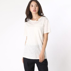 【SALE 65%OFF】デレクラム テン クロスビー DEREK LAM 10 CROSBY s/s 1 pocket Tee w gold bar (soft white)