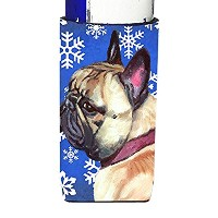 フレンチブルドッグFrenchie Winter Snowflakes Holiday Ultra Beverage Insulators forスリム缶lh9587muk