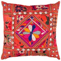 Surya AR-070 Hand Crafted 50% Cotton / 50% Polyester with lace accents Blackberry 18' x 18' Global...