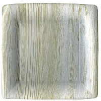 Entertaining with Caspari Faux Bois Square Dinner Plates ( 8 Pack ) , Birch