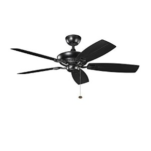 Kichler 310192SBK Canfield Patio 52IN Wet Location Energy Star Ceiling Fan, Satin Black Finish with...