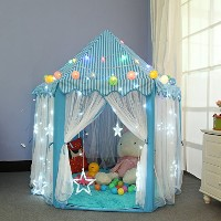 Dream Yo キッズプレイテント Kid Indoor Princess Castle Play Tent 子供 用 室内 テント 形が 可愛い キッズテントLED電球付き (3点セット,...