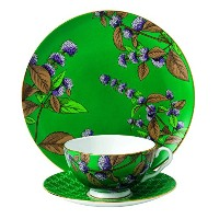 Wedgwood 3 Piece Tea Garden Green Tea and Mint Tea Plate Set by Wedgwood