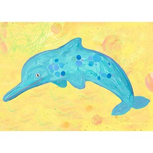 Oopsy daisy dotted dolphin stretched canvas art by stephanie bauer, 14 by 10-inch by Oopsy Daisy