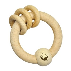 green sprouts Natural Wooden Ring Rattle, Natural by i Play (English Manual)