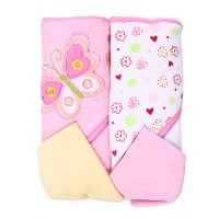 Spasilk Hooded Terry Bath Towel with Washcloths, Butterfly Pink, 2-Count by Spasilk