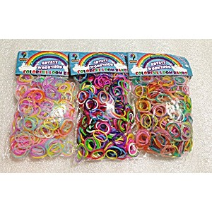 [Artasy Workshop] バンドブレスレット (蛍光&普通&銀ラメ) ミックスゴム3種類セット Loom Bands refill Pack - (1800) rubber ring...