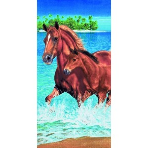 Horses in the water velour brazilian beach towel 30x60 inches by Bahia Collection by Dohler