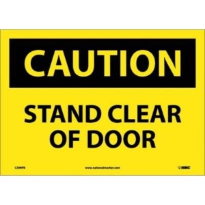 NMC C399PB OSHA Sign, Legend 'CAUTION - STAND CLEAR OF DOOR', 14' Length x 10' Height, Pressure...