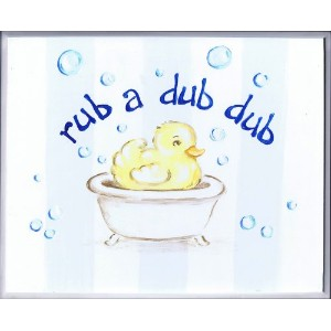 The Kids Room by Stupell Rub-a-dub-dub Duck in a Tub Rectangle Wall Plaque by The Kids Room by...