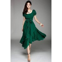 NEW WOMENS MAXI CHIC CHIFFON VINTAGE LONG BALL PARTY IRREGULAR EVENING DRESS