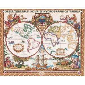 "Janlynn クロスステッチ 刺繍キット""世界地図"" Janlynn Cross Stitch Kit, 15-Inch by 18-Inch, Olde World Map Janlynn..."