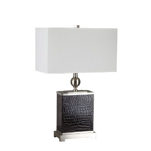 ORE International 31123LBR 25-Inch Table Lamp, Brushed Nickel with Black Faux Croc Base Insert and...