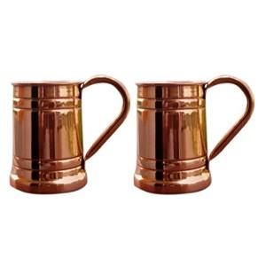 STREET CRAFT Handmade Solid Copper Moscow Mule Stein,Tankard 18 Oz Brown Set Of 2 by STREET CRAFT