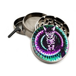 Trippy Kitty 4 Piece Large Silver Aluminum or Zinc Metal Herb Grinder 2.5 Tie Dye Cat Cats Hippie...