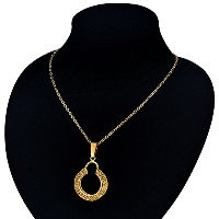 Gold Circle Pendant Necklace For Women
