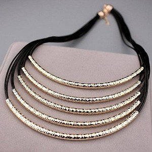 New Metal Tube Multilayer Black Leather Chain Necklaces For Women