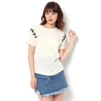 LACE UP SHOULDER TEE【マウジー/MOUSSY レディス Tシャツ・カットソー OWHT ルミネ LUMINE】