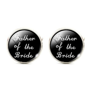 スチームパンクの父Bride Cuff Links Mens Cufflinks Wedding Groomsmenブラックandホワイト
