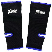 Fairtex Ankle Guard Support Protector for Muay Thai, K-1, MMA, Boxing, Kickboxing Black with Blue.