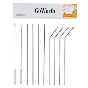 goworth 10.5-inchステンレススチールBent and Straight Drinking Straws with 2クリーニングブラシ(セットof 8)