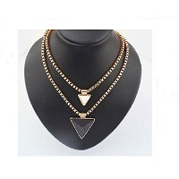 Gold Double Layer Chain Triangle Pendant Necklace