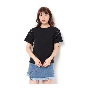 LACE UP SHOULDER TEE【マウジー/MOUSSY レディス Tシャツ・カットソー BLK ルミネ LUMINE】