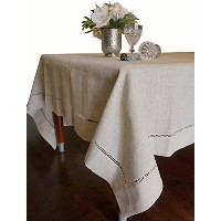 Beautiful Hemstitched Table Runner Quality Natural Rectangular Tablecloth 60x140 Inch by K-Cliffs