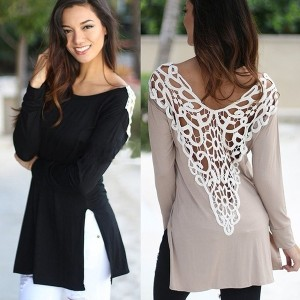 Women Brand New Back Lace Hollow-out Long-sleeved Summer Dresses