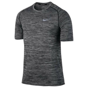 ナイキ メンズ トップス Tシャツ【Nike Dri-FIT Knit Short Sleeve T-Shirt】Black/Heather/Reflective Silver