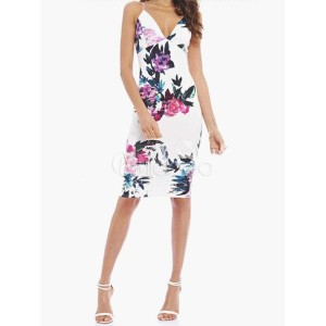 Floral Printed Spagetti Deep V-Neck Sleeveless Bodycon Dress