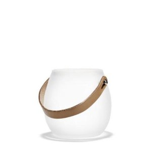HOLMEGAARD DESIGN WITH LIGHT Pot with leather handle White (S) H10cm ガラス ポット フロスト 4343525 吹きガラス