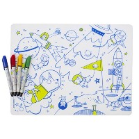 modern-twist Kids Mark-Mat Silicone Coloring Placemat with 4 Dry-Erase Markers, Space Animals by...