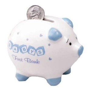 Russ Berrie Baby's First Piggy Bank, Blue (Discontinued by Manufacturer) by Russ Berrie
