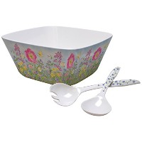 Lang Peony GardenメラミンLarge Serving Bowlセットby Jane Shasky ( 2106003)