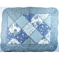 Blue Roses Patchwork Non-Slip Quilted Cotton Mat / バラ柄 パッチワーク キルト コットン ラグ [並行輸入品]