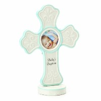 Nat and Jules Baby's Baptism Cross Frame, Blue by Nat and Jules