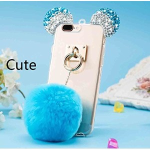 Galaxy S7 Edge Shell, Cute Bear Mouse Shiny Diamond Ear Clear Slim カバー With Soft Hanging Hairball,...