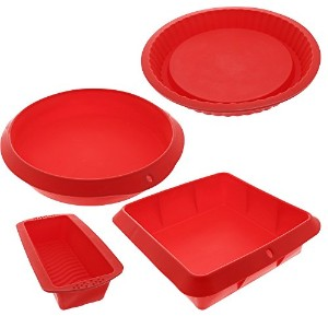 Bakeware Set–Baking Molds–4テフロン加工のシリコンBakeware Set with Round、正方形、との長方形Pansパイ、ケーキ、Loaf , and...