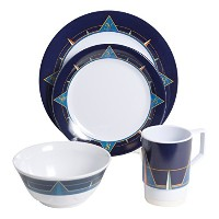 Galleywareブルーコンパスメラミン24Piece Dinnerwareギフトセット